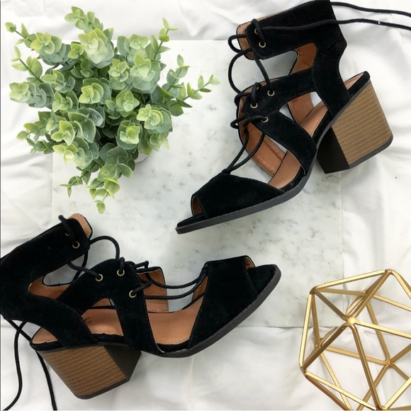 9141e835e70 New Faux Suede Black Lace Up Block Heeled Sandals
